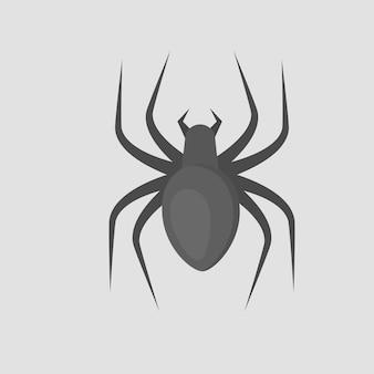 Ragno nero. insetto. illustrazione in stile cartone animato