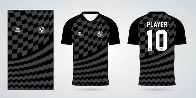 Modello di maglia sportiva nera per le divise della squadra e il design della maglietta da calcio