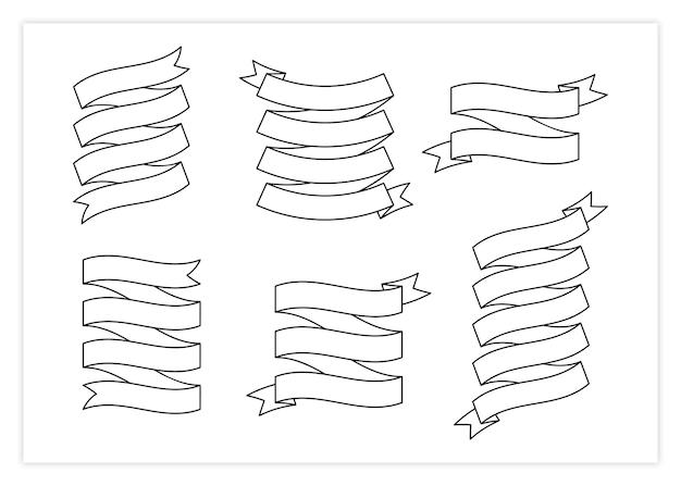 Illustrazione della raccolta di vettore dell'insegna del modello del nastro del nastro nero dell'annata contorno riccio