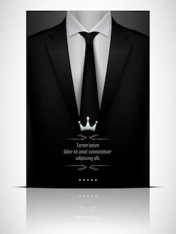 Abito nero e smoking con cravatta nera Vettore Premium