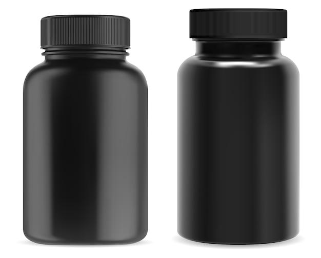 Flacone integratore nero. barattolo di plastica per pillole. imballaggio della vitamina 3d, contenitore medico isolato della capsula, modello lucido su fondo bianco.