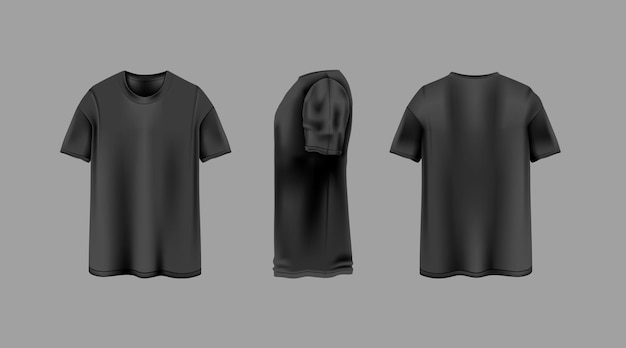 T-shirt nera con modello di viste da diverse angolazioni