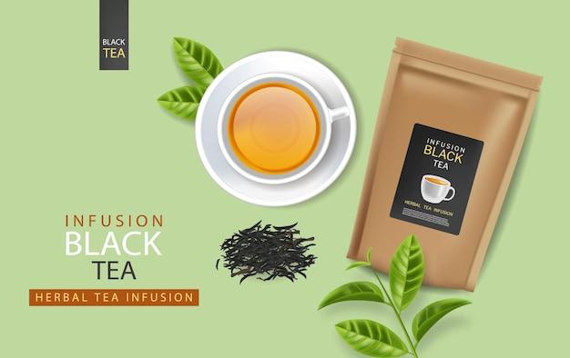 Bustina di tè nero e tazza di vettore realistico posizionamento del prodotto mock up 3d illustrazione dettagliata