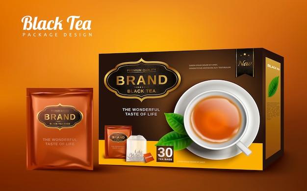 Scatola da tè nero e pratico pacchetto, isolato sfondo marrone