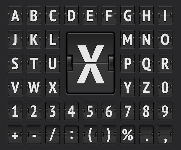 Alfabeto del tabellone segnapunti meccanico terminale nero con numeri per visualizzare l'illustrazione vettoriale di destinazione e partenza. carattere normale della lavagna a fogli mobili dell'aeroporto che mostra le informazioni e l'orario di arrivo del volo