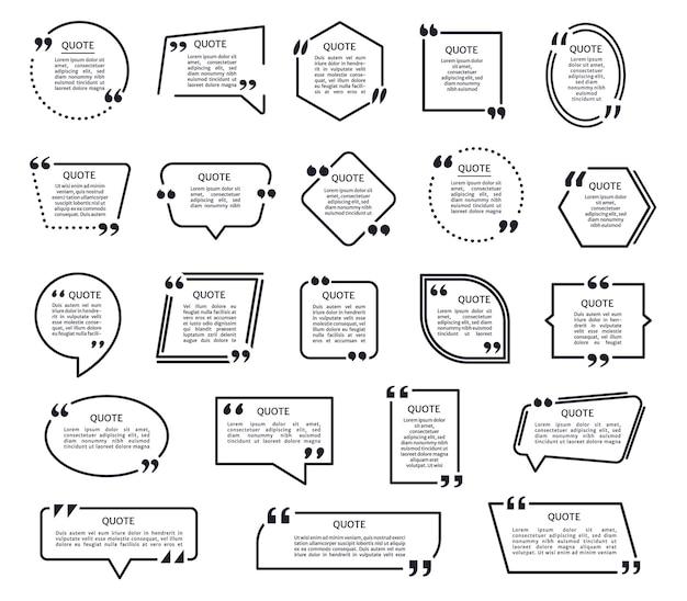 Riquadri di citazioni di cornici di testo nere con virgolette set di cornici di testo con menzione a fumetto