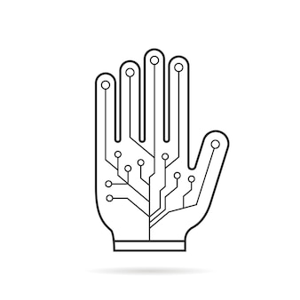 Guanto virtuale per pcb di linea sottile nera. concetto di finzione, ar, layout vr, interfaccia utente dati, smart palm, braccio geek, attrezzatura. stile piatto tendenza logo moderno design grafico illustrazione vettoriale su sfondo bianco