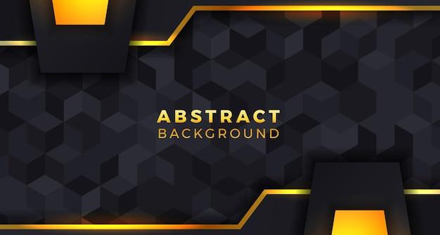 Concetto di modello di piastrelle nere sfondo di lusso geometrico nitido per il gioco ed elegante con colore dorato