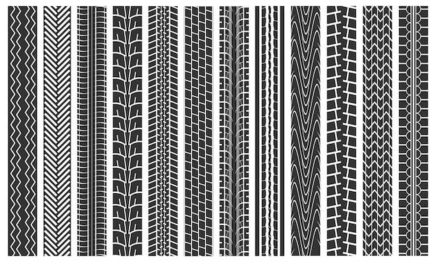 Nero tracce di pneumatici modello senza cuciture sfondo dettaglio impronta gomma ruota auto su strada. illustrazione vettoriale