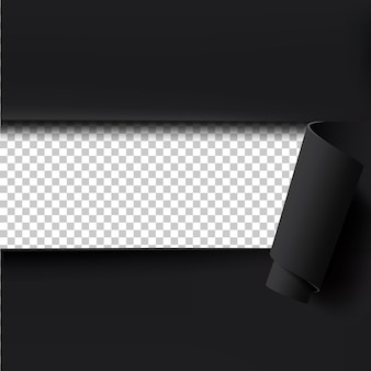 Sfondo nero di carta strappata con spazio vuoto per il testo.