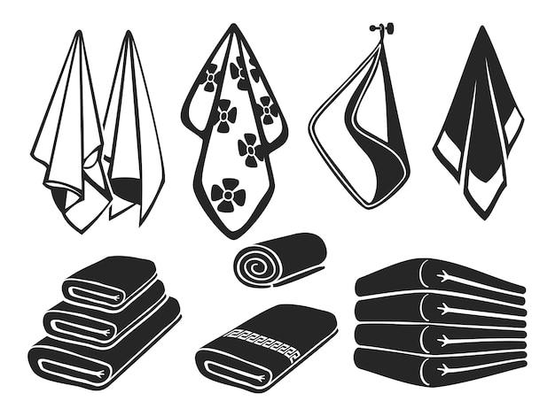 Asciugamani neri impostare icone. asciugamani in tessuto morbido bagno, spiaggia e cucina isolati su bianco