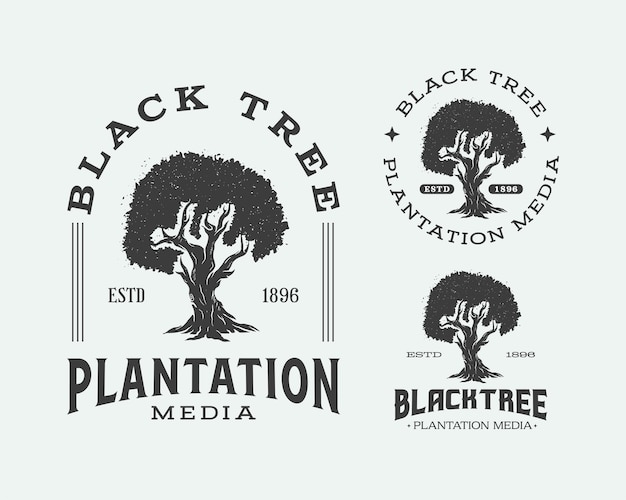Modelli di progettazione del logo dell'emblema della siluetta dell'albero del logo della piantagione di alberi neri tree