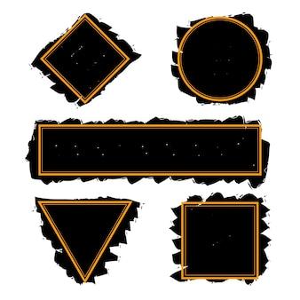 Cornici nere alla moda di pennellate di inchiostro, set vettoriale