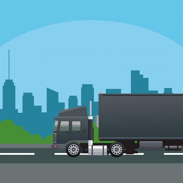 Veicolo auto camion nero sulla scena stradale
