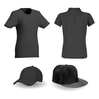 Maglietta nera, modello di vettore di cappello da baseball nero