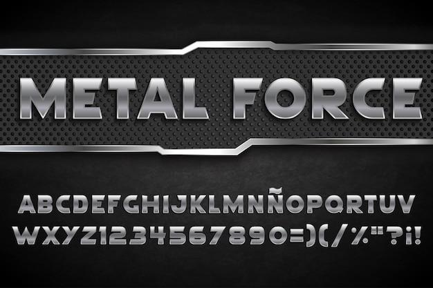Tipografia nera in metallo