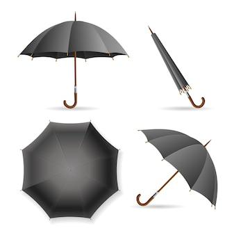 Set di modelli di ombrello nero. aperto e chiuso.