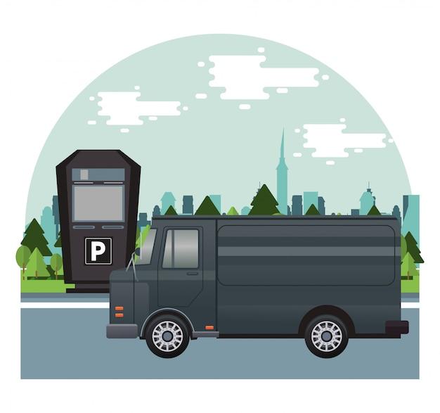 Trasporto di veicoli furgone nero nella scena della zona di parcheggio