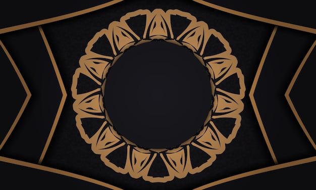 Sfondo vettoriale nero con ornamenti e posto per il tuo logo. sfondo di design con ornamenti di lusso.