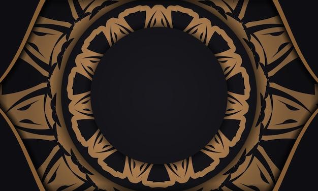 Banner vettoriale nero con ornamenti e posto per il tuo testo e logo. modello per lo sfondo del design di stampa con motivi lussuosi.