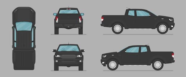 Camioncino nero di vettore da diversi lati