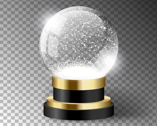 Modello vuoto del globo della neve di vettore nero isolato su trasparente