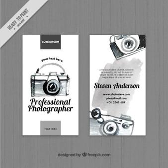 Nero acquarello affari macchina fotografica carta Vettore Premium