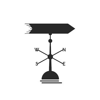 Icona nera della banderuola. concetto di metafora aziendale, scoperta di nuovi orizzonti, vento giusto, ventoso, brezza, regia. isolato su sfondo bianco. stile piatto tendenza moderna logo design illustrazione vettoriale