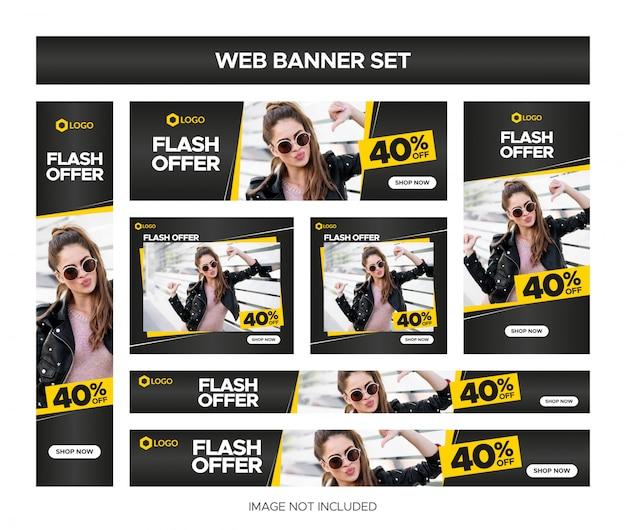 Insieme della bandiera di vendita web nero