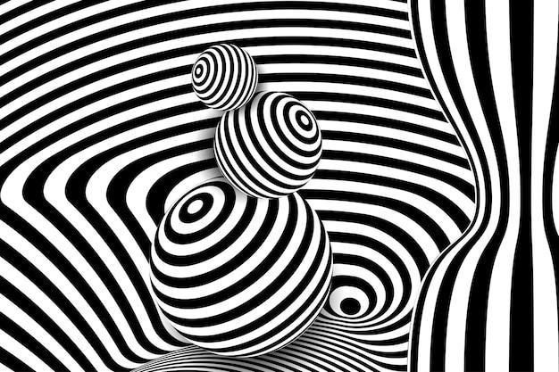 Disegno di illusione di distorsione delle palle di linea 3d bianco nero disegno geometrico spogliato illustrazione arte