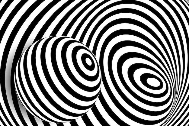 Illusione della sfera di distorsione di linea bianca nera 3d