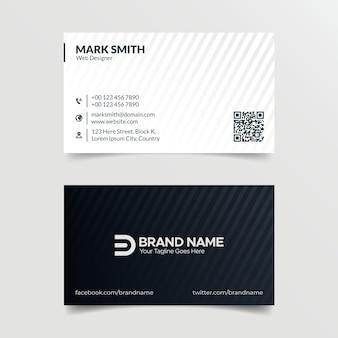 Progettazione astratta in bianco e nero del modello del biglietto da visita