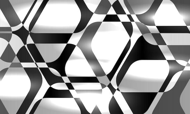 Fondo geometrico esagonale astratto in bianco e nero