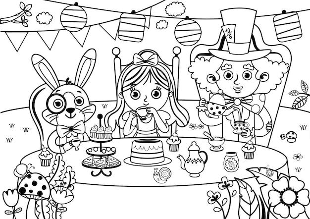 Illustrazione vettoriale di alice nel paese delle meraviglie in bianco e nero mad tea party
