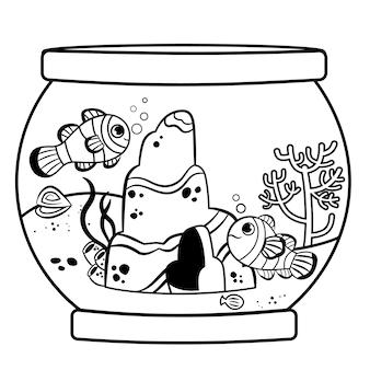 In bianco e nero un acquario con pesci pagliaccio