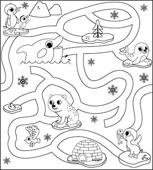 Gioco del labirinto di animali artici in bianco e nero per bambini illustrazione vettoriale