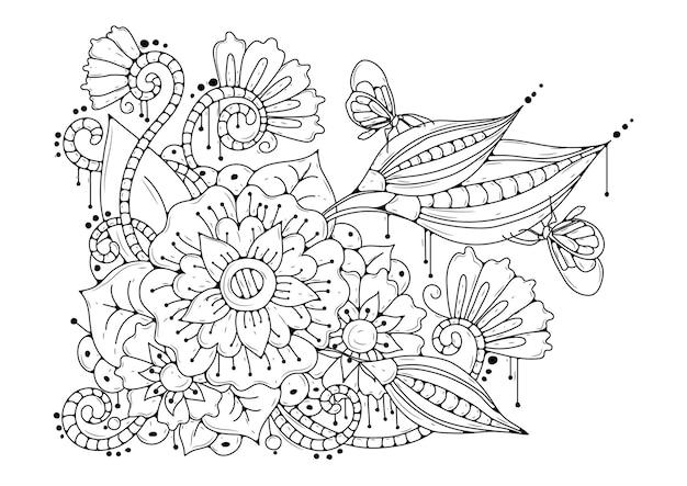 Sfondo bianco-nero con fiori e farfalle. pagina da colorare.