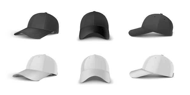 Prospettiva laterale 3/4 del berretto da baseball in bianco e nero, laterale, set di modelli vettoriali realistici con vista frontale. mock up per branding e pubblicità isolato su sfondo trasparente.