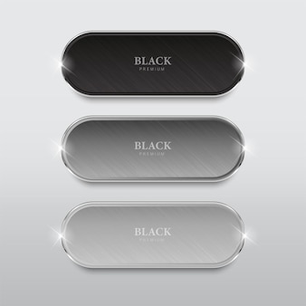 Set di pulsanti in bianco e nero pulsanti rotondi e quadrati