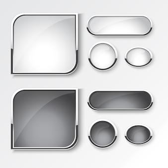 Set di pulsanti in bianco e nero