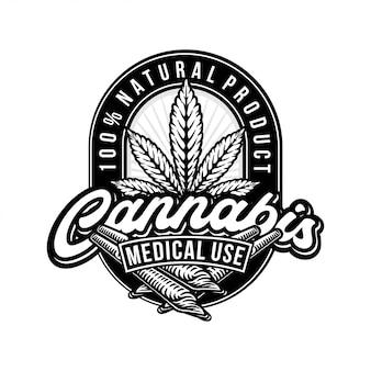 Logo di cannabis in bianco e nero
