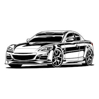 Fumetto di auto in bianco e nero