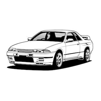 Illustrazione di auto in bianco e nero per la progettazione concettuale