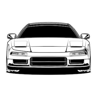 Illustrazione di auto in bianco e nero