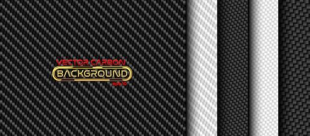Set di sfondo senza soluzione di continuità in fibra di carbonio bianco e nero. collezione di texture
