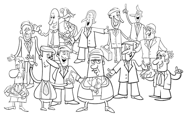 Gruppo di uomini d'affari in bianco e nero fumetto