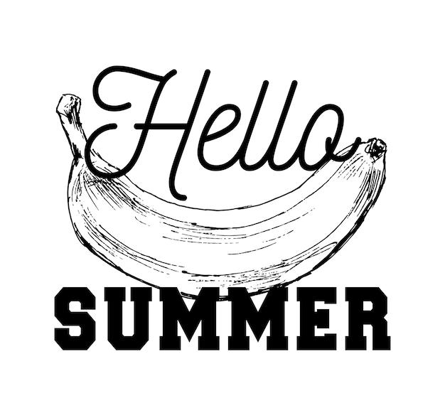 Illustrazione in bianco e nero del fumetto dell'oggetto dell'alimento della frutta della banana per estate di slogan del libro da colorare ciao