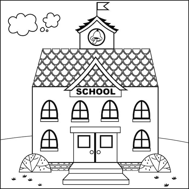 Illustrazione di vettore dell'edificio scolastico del fumetto in bianco e nero