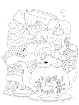 Gatto bianco e nero con pasticceria e tè, per la colorazione