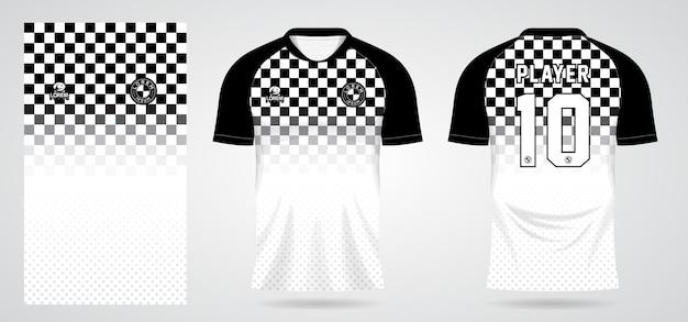 Modello di maglia sportiva scacchi bianco nero per le uniformi della squadra e il design della maglietta da calcio